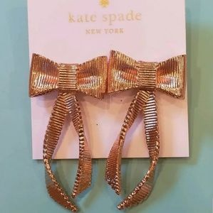 NWT Kate Spade All Wrapped Up Rose Gold Earrings